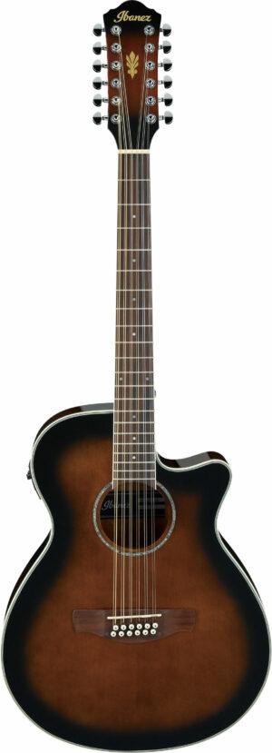 IBANEZ AEG Serie Westerngitarre 12 String Dark Violin Sunburst High Gloss