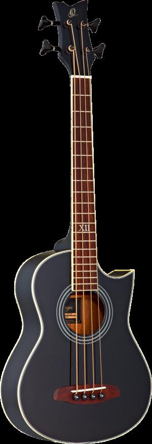 ORTEGA Deep Traveler Series Bass 4 String schwarz inkl. Tasche und Gurt Kurze Mensur