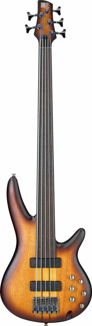 IBANEZ Bass Workshop E-Bass 5 String Fretless Brown Burst Flat