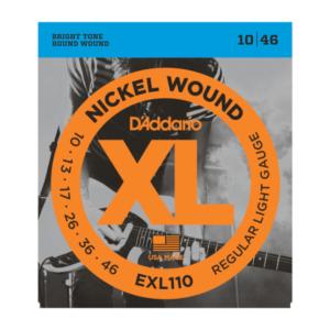 EXL110 D'Addario EXL110 Saiten für E-Gitarre, mit Nickel umsponnen, Regular Light, 10-46
