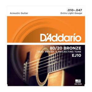 EJ10 D'Addario EJ10 Saiten für Akustikgitarre, Bronze, Extra Light, 10-47