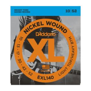 EXL140 D'Addario EXL140 Saiten für E-Gitarre, mit Nickel umsponnen, Light Top/Heavy Bottom, 10-52