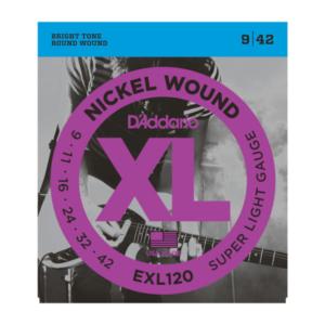 EXL120 D'Addario EXL120 Saiten für E-Gitarre, mit Nickel umsponnen, Super Light, verstärkt, 9-42