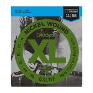 EXL117 D'Addario EXL117 Saiten für E-Gitarre, mit Nickel umsponnen, Medium Top/Heavy Bottom, 11-56