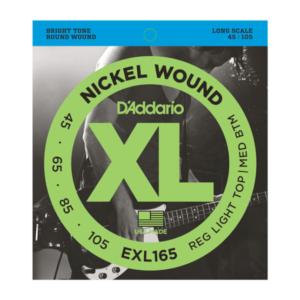 EXL165 D'Addario EXL165 Saiten für Bassgitarre, mit Nickel umsponnen, Custom Light, 45-105, Long Scale