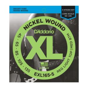 EXL165-5 D'Addario EXL165 Saiten für 5-saitige Bassgitarre, mit Nickel umsponnen, Custom Light, 45-135, Long Scale