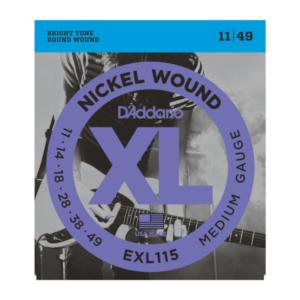 EXL115 D'Addario EXL115 Saiten für E-Gitarre, mit Nickel umsponnen, Medium/Blues-Jazz Rock, 11-49
