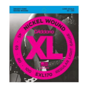 EXL170 D'Addario EXL170 Saiten für Bassgitarre, mit Nickel umsponnen, Light, 45-100, Long Scale