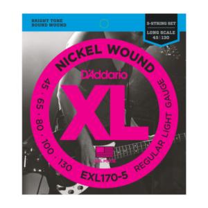 EXL170-5 D'Addario EXL170-5 Saiten für 5-saitige Bassgitarre, mit Nickel umsponnen, Light, 45-130, Long Scale