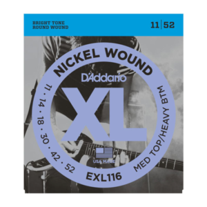 EXL116 D'Addario EXL116 Saiten für E-Gitarre, mit Nickel umsponnen, Medium Top/Heavy Bottom, 11-52